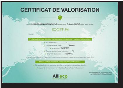 Certificat de valorisation